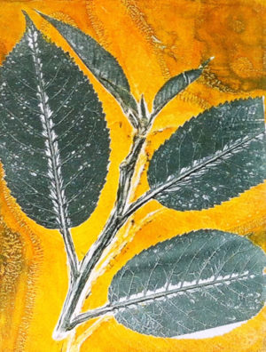 mono print of leaf