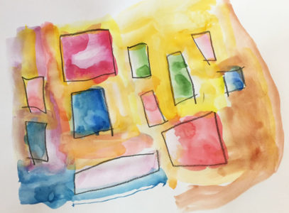 coloured squares drawn in the mirror