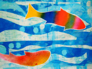 detail of fabric printing; fish