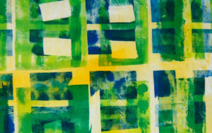 green fabric printing design made with masking tape