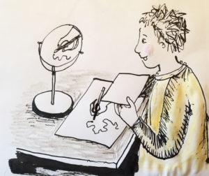 cartoon of person mirror drawing