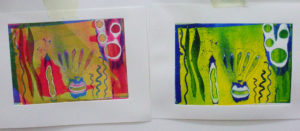 viscosity printing; two prints from the same plate in different colours