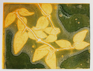 mono print from clematis leaf