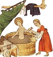 manuscript illustration of a medieval bath