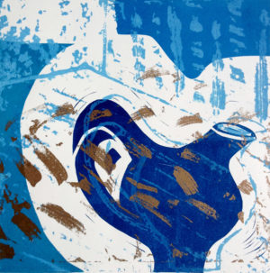 Blue Gold Jug, etched lino print
