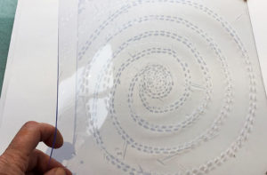 pvc plate cut with spiral design