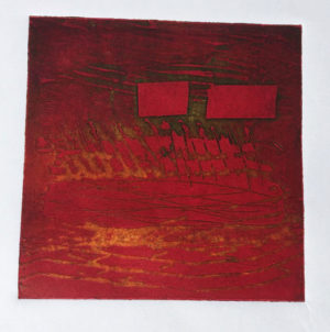intaglio and relief print from etched lino block
