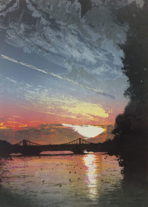Chelsea Bridge Sunset, etched lino print