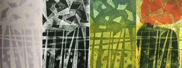 etched lino plate printed in three different ways