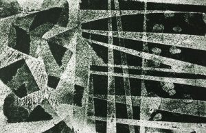 relief print from etched lino