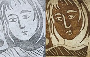 relief print and intaglio print from etched lino plate