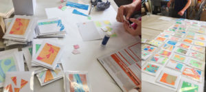 making cards from marbled paper