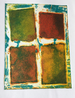 intaglio with blue relief inking
