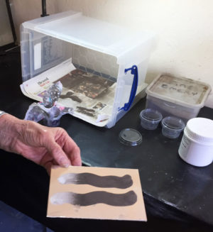 foil plate with carborundum powder on pva