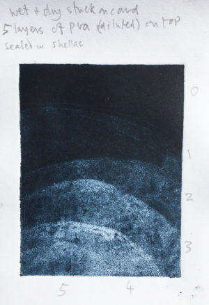 PVA glue creates areas of tone on carborundum paper