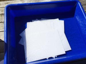 Half the paper soaking