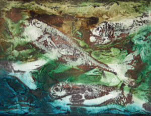'Sun Seven' collagraph print from tile cement plate using fish