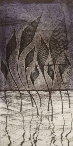 'Thalia' collagraph print from tile cement plate