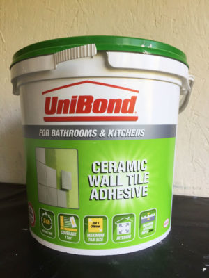 A big tub of Tile Cement