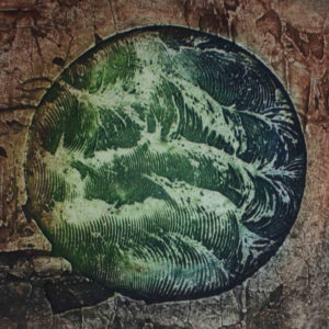 'Watersource' collagraph print from a whisked tile cement plate