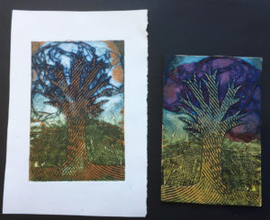 A collagraph print and plate made using combed cement