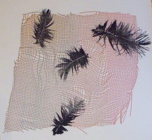 Mono print with feathers