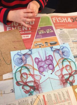 Multiple coloured string prints
