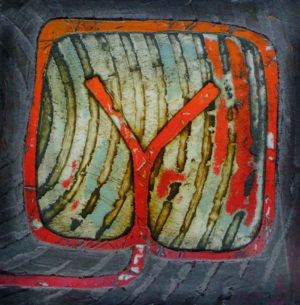 Collagraph print from a combed cement plate