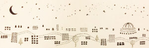 drawing of city lights and stars to laser print