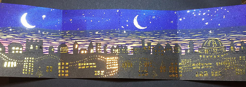 Lino print with added gold and silver foil