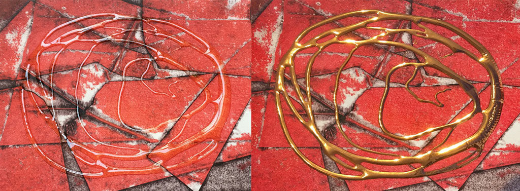 Tar gel before and after gilding