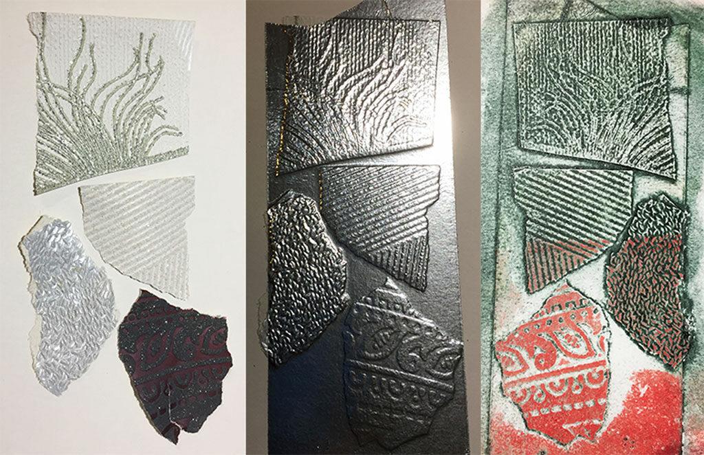 Wallpaper scraps, aluminium tape plate, and print