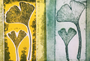 ginkgo leaves printed as viscosity and intaglio