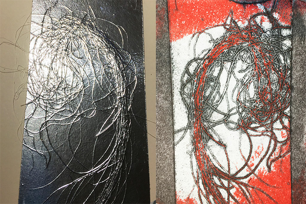 Jute fibres, plate and print