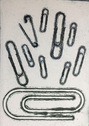 Intaglio print from embossed paper clips