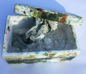whiting box with rag