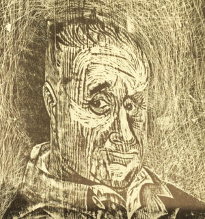 Antonio Frasconi, woodcut with wood grain; Bertolt Brecht