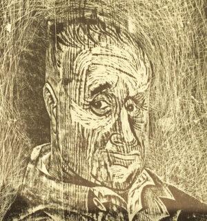 Antonio Frasconi, woodcut with wood grain; Bertolt Brecht