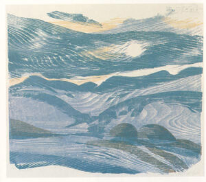 Heiner Bauschart; Blue Landscape, print using wood grain