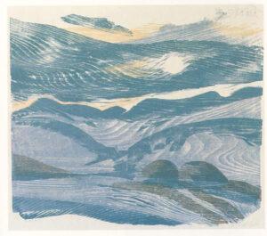 Heiner Bauschart; Blue Landscape, print using wood grain