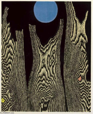 Max Ernst; Forest and sun, print with wood grain