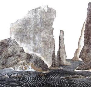 Merlyn Chesterman; Print incorporating wood grain