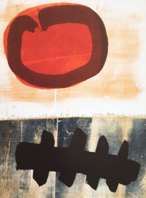 Michael Rothenstein; Red and Dark Blue, print with wood grain