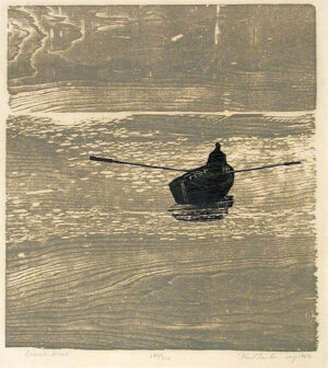 Paul Schaube; Rowing alone, print with wood grain