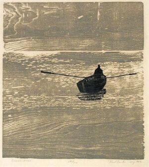 Paul Schaube; Rowing alone, print with wood grain