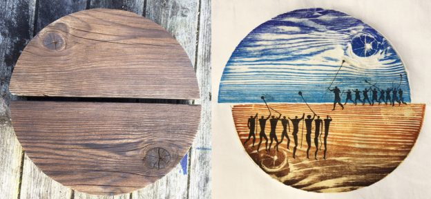 wooden plate and print