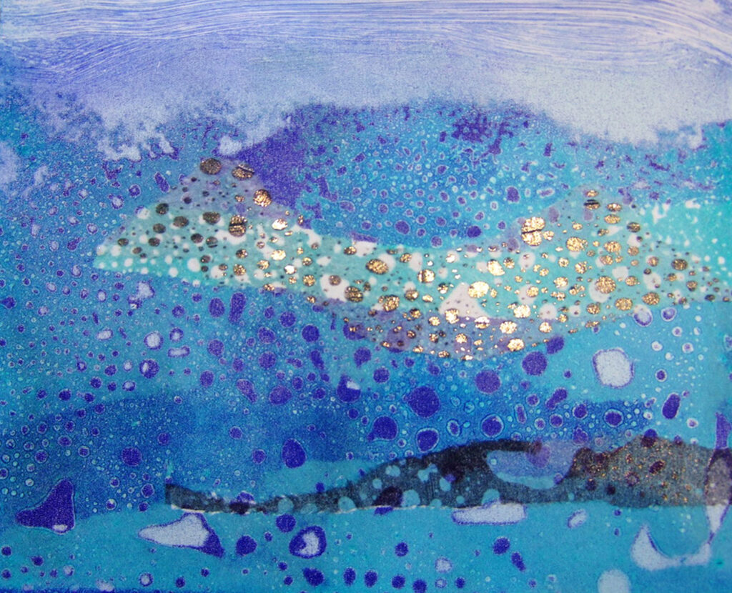 'Seascape', mono print using the 'raindrops' technique with chine colle