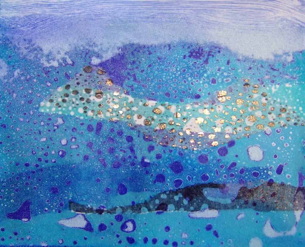 'Seascape', mono print using the 'raindrops' technique with chine colle