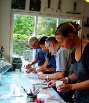 'Printing with Plaster' short course in my studio