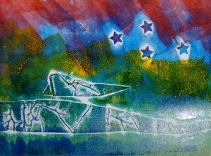 Multicoloured collagraph print